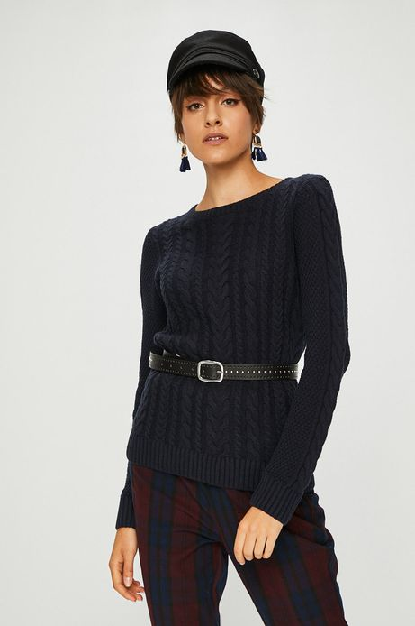 Sweter damski granatowy cienki z okrągłym dekoltem