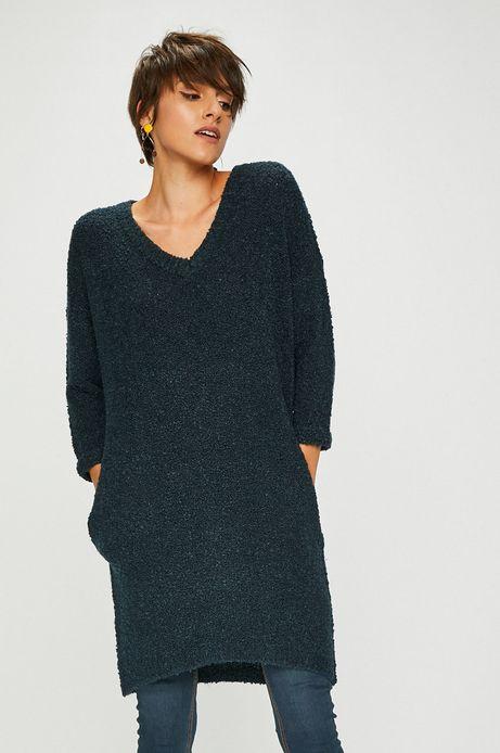 Sweter damski zielony długi z kieszeniami
