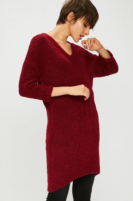 Sweter damski różowy długi z kieszeniami