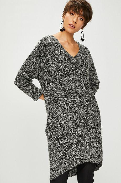 Sweter damski szary długi z kieszeniami