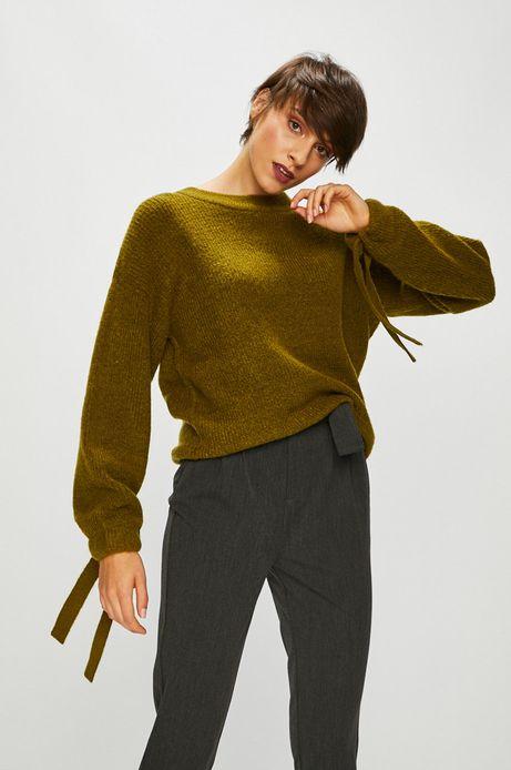 Sweter damski zielony z wiązaniami na rękawach