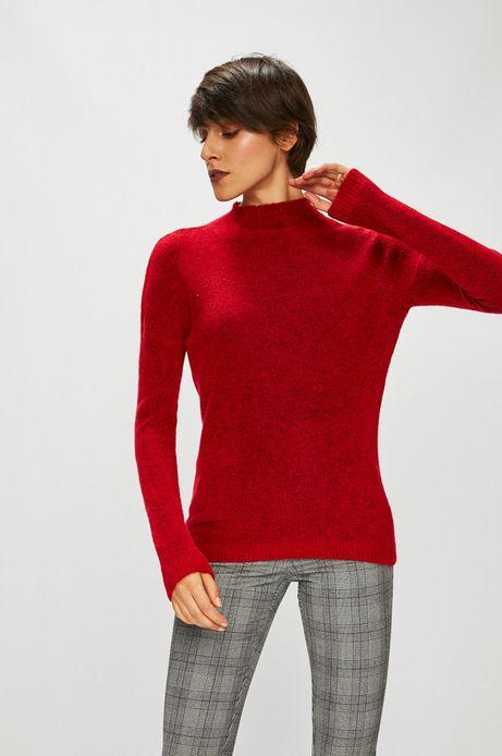 Sweter damski czerwony z dekoltem typu łódka