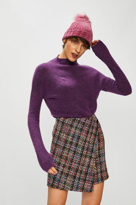 Sweter damski fioletowy z dekoltem typu łódka