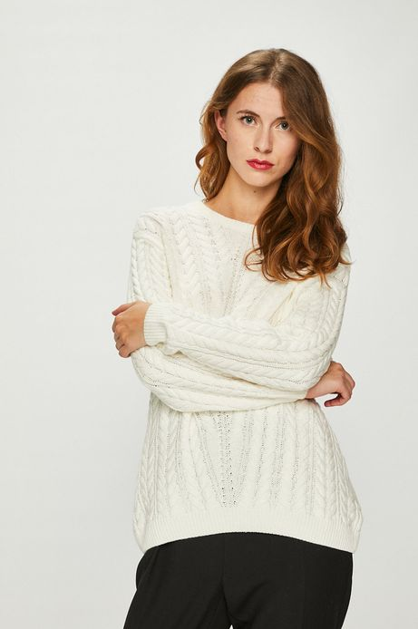 Sweter damski kremowy cienki z dekoltem na plecach