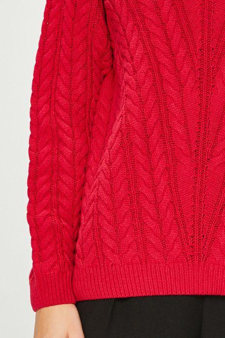 Sweter damski różowy cienki z dekoltem na plecach