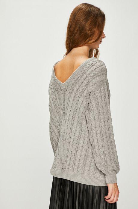 Sweter damski szary cienki z dekoltem na plecach