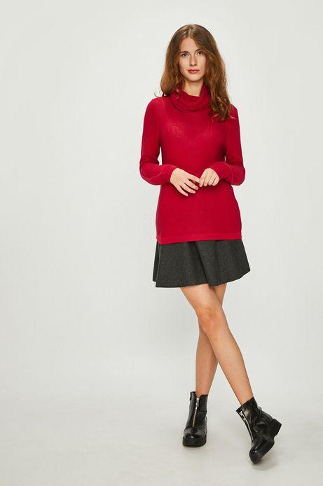 Sweter damski różowy gruby z golfem