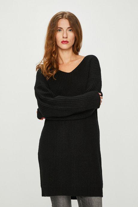 Sweter damski czarny z dekoltem na plecach