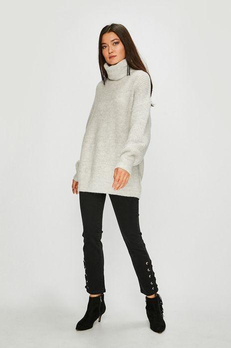 Sweter damski gruby z golfem szary