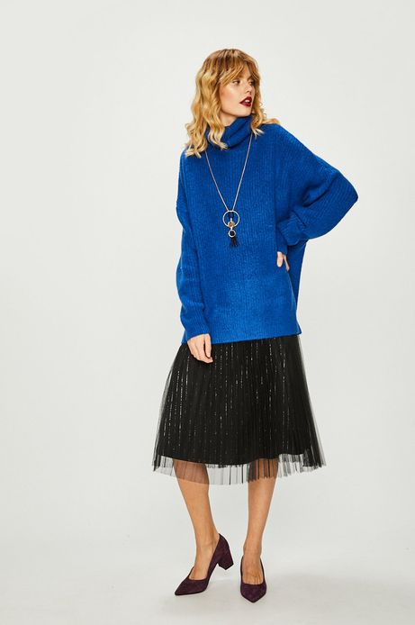 Sweter damski gruby z golfem niebieski
