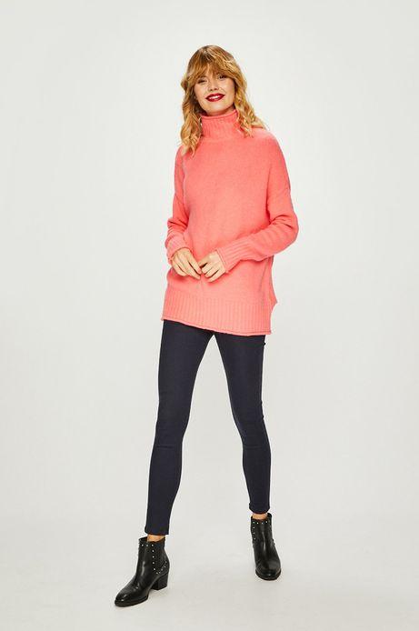 Sweter damski różowy z półgolfem