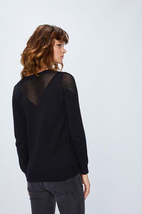 Sweter damski czarny cienki z ozdobnymi frędzlami