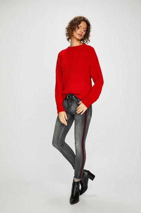 Sweter damski czerwony z okrągłym dekoltem