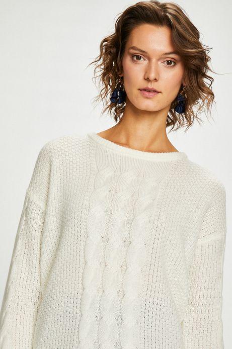 Sweter damski kremowy z wiązaniem na plecach