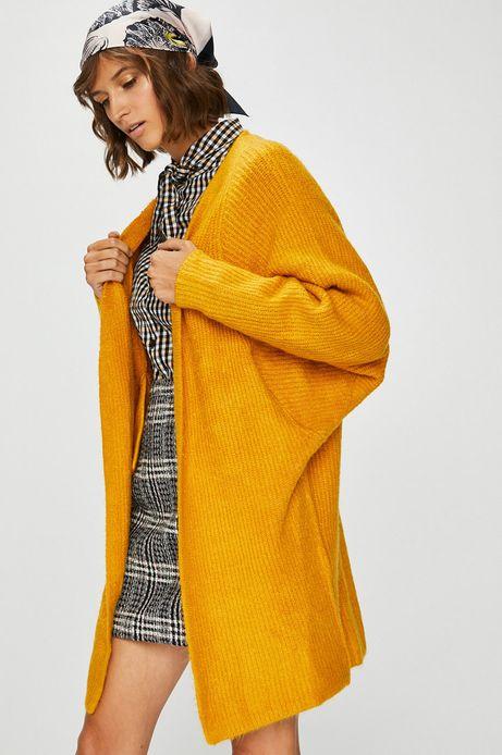 Kardigan damski żółty gruby
