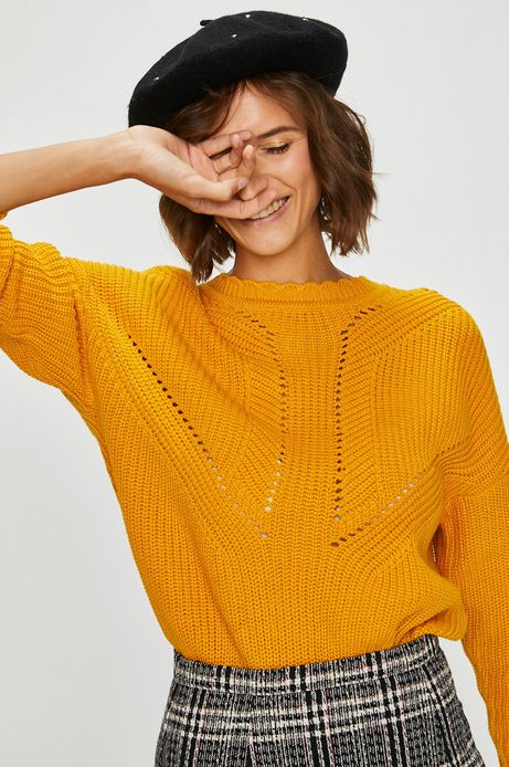 Sweter damski żółty gruby z okrągłym dekoltem