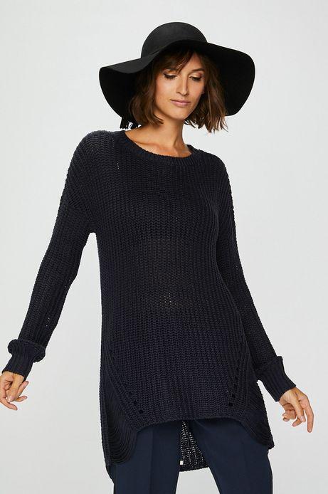 Sweter damski granatowy z okrągłym dekoltem