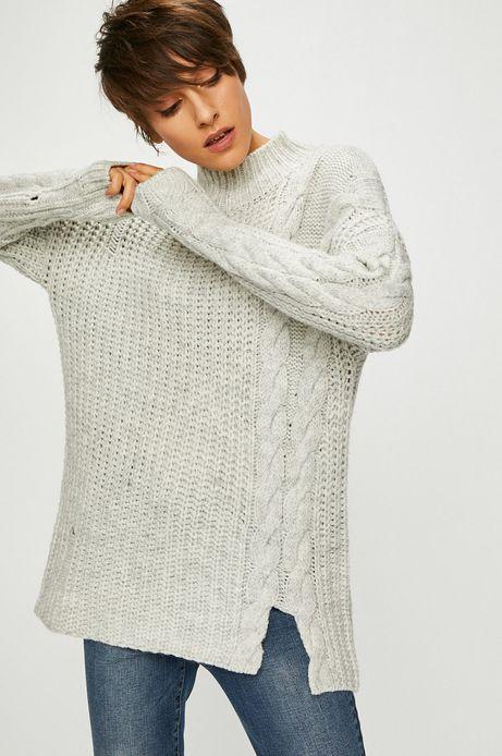 Sweter damski szary ze wzorem strukturalnym