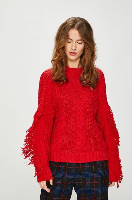 Sweter damski czerwony z ozdobnymi frędzlami
