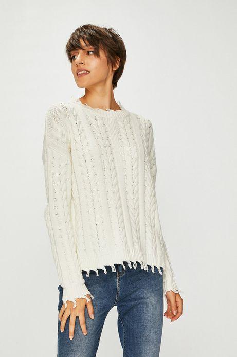 Sweter damski kremowy gruby z ozdobnymi wykończeniami
