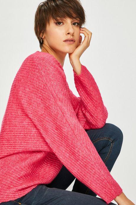 Sweter damski różowy luźny