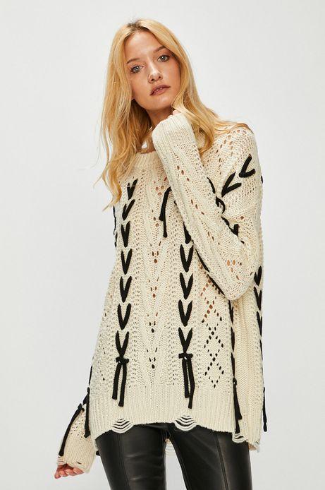 Sweter damski kremowy z ozdobnymi wstawkami