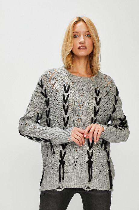 Sweter damski szary z ozdobnymi wstawkami