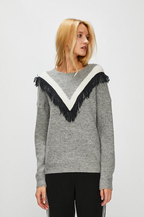 Sweter damski szary z ozdobnymi frędzelkami