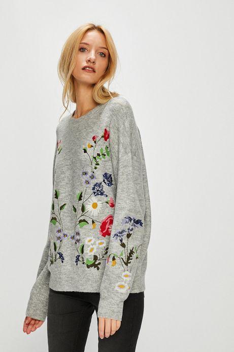 Sweter damski szary z ozdobnymi haftami