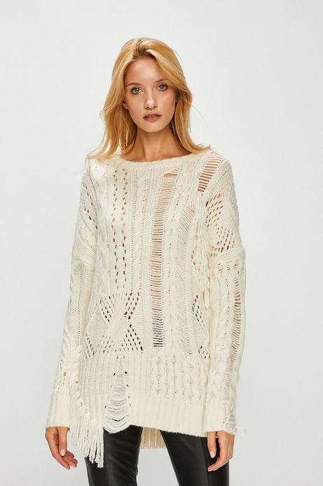 Sweter damski kremowy gruby z okrągłym dekoltem