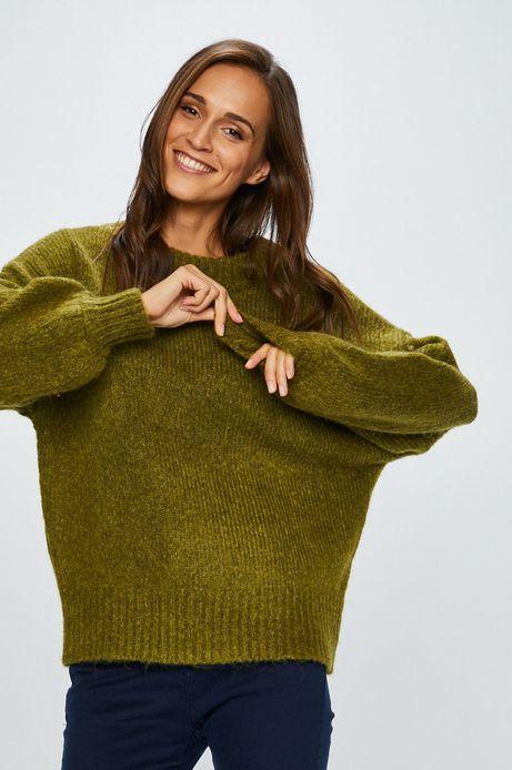 Sweter damski zielony gładki z okrągłym dekoltem