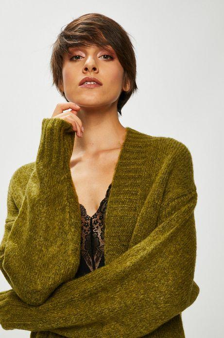 Kardigan damski zielony gruby z kieszeniami