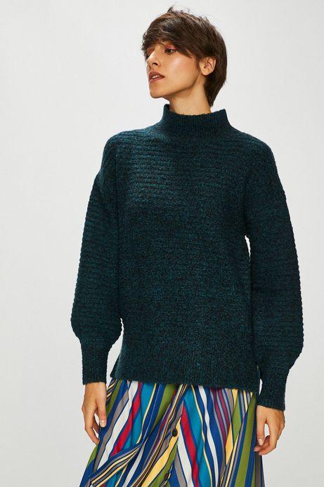 Sweter damski z półgolfem zielony z fakturą