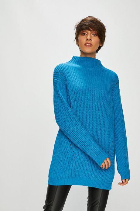 Sweter damski niebieski gruby z półgolfem