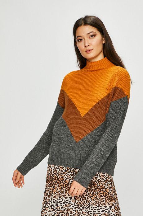 Sweter damski z półgolfem w paski