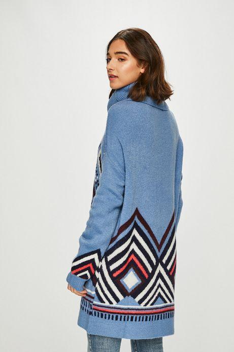 Sweter damski niebieski z golfem