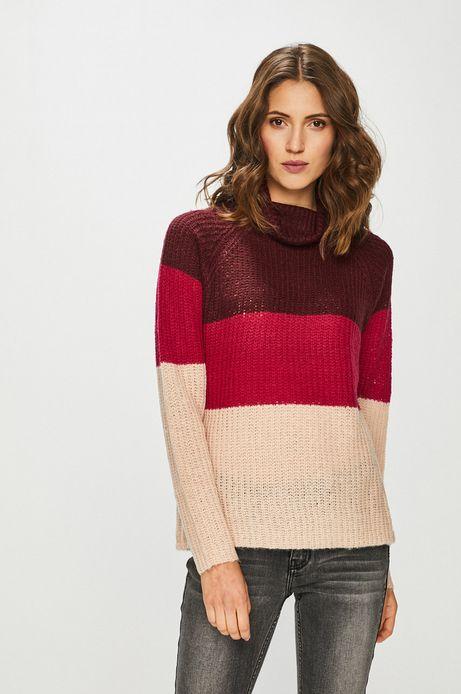 Sweter damski w paski z golfem