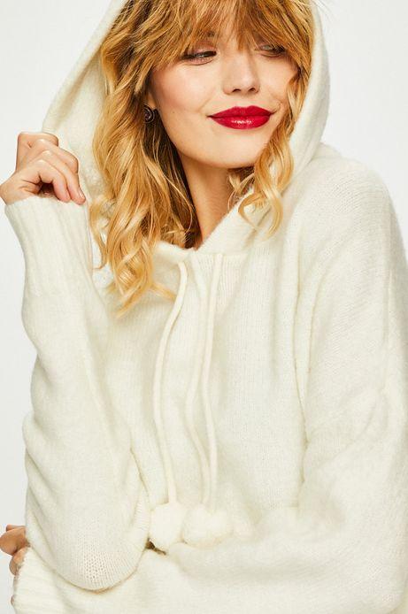 Sweter damski kremowy z kapturem