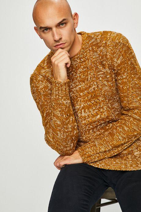 Sweter męski gruby z domieszką wełny żółty