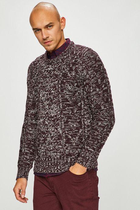 Sweter męski gruby z domieszką wełny bordowy