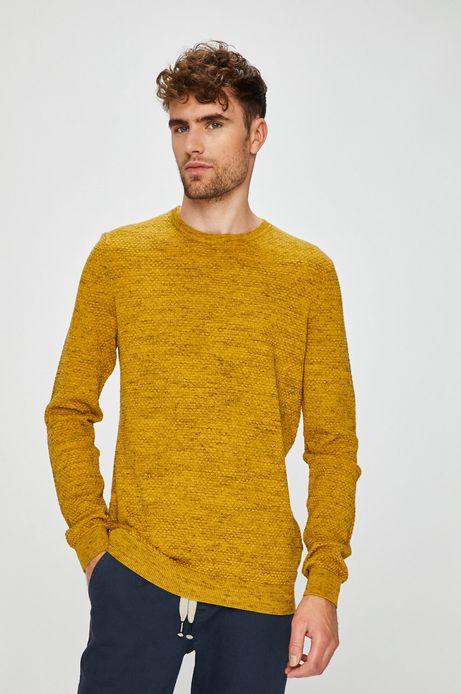 Sweter męski żółty cienki z okrągłym dekoltem