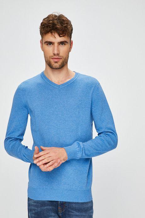 Sweter męski niebieski ze szpiczastym dekoltem