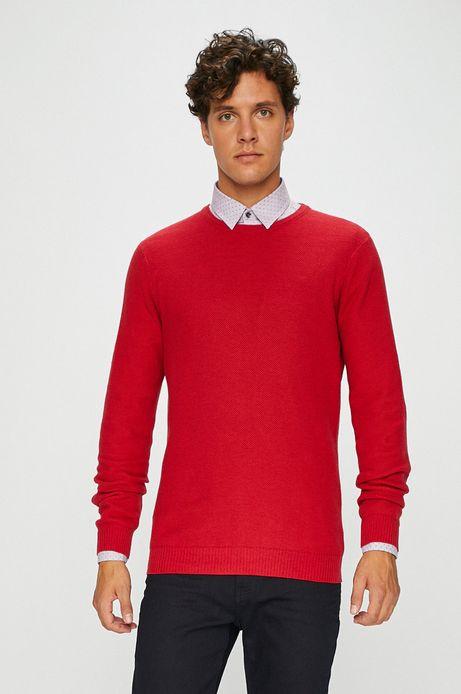 Sweter męski czerwony cienki gładki