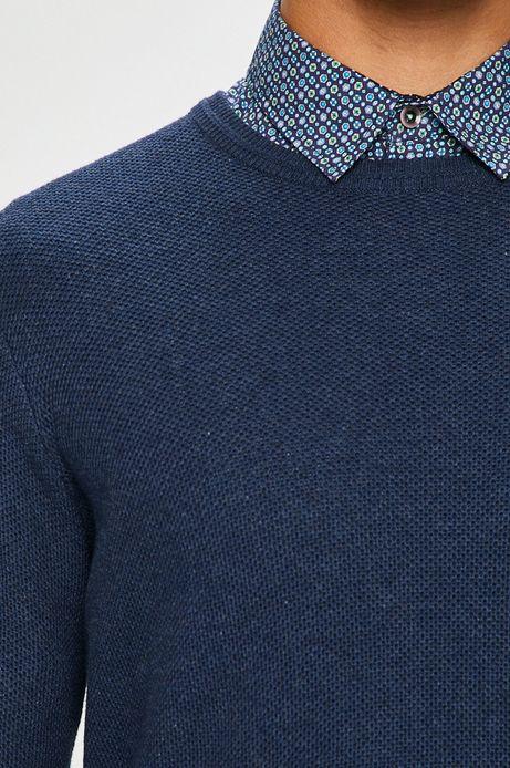 Sweter męski granatowy cienki gładki