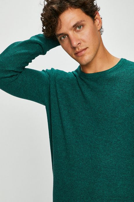 Sweter męski zielony cienki gładki