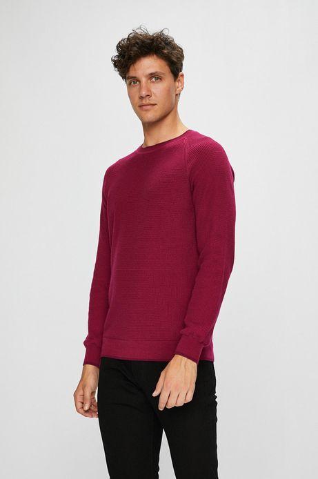 Man's Sweter męski różowy cienki z okrągłym dekoltem