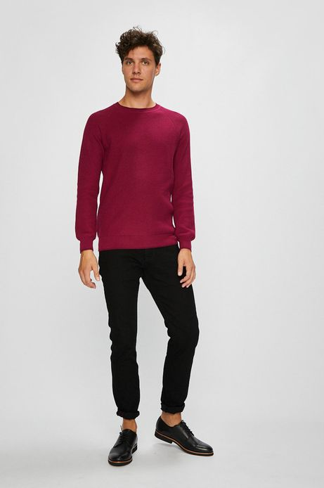 Sweter męski różowy cienki z okrągłym dekoltem