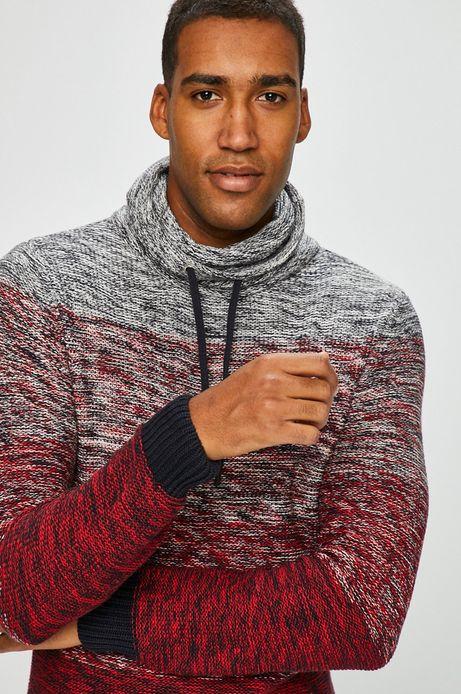 Sweter męski czerwony gruby z golfem