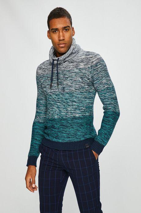 Sweter męski turkusowy  gruby z golfem