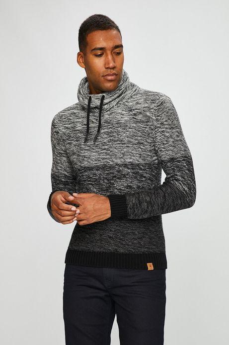 Sweter męski szary gruby z golfem